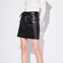Women high quality real leather rivets Skirts  2019 Fall/winter sheepskin leather high-waist bowtie A-line skirt A859 new 2019 fall winter women real leather high waist wide leg shorts fashion high quality sheepskin leather short trousers a858