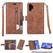 ซิปกระเป๋าสตางค์โทรศัพท์กรณี Samsung หมายเหตุ 10 9 8 A70 A50 A60 A40 A20E A7 ซองหนังสำหรับ Samsung S10 S9 S8 Plus S10e