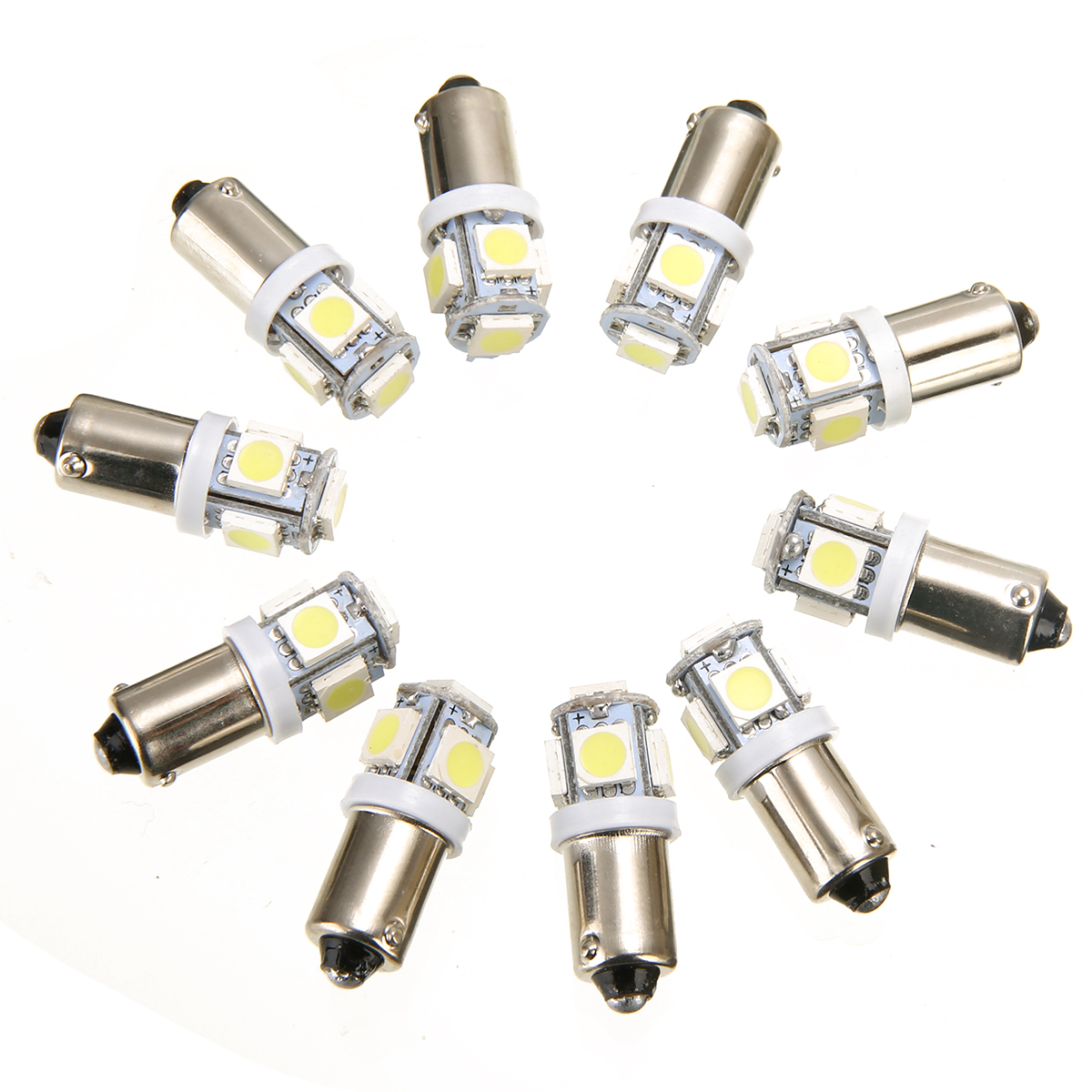 10pcs 12V T11 BA9S 5SMD LEDs Bulb T4W 3886X H6W 363 5050 Super White Car Interior Dome Map Light Signal Lamp