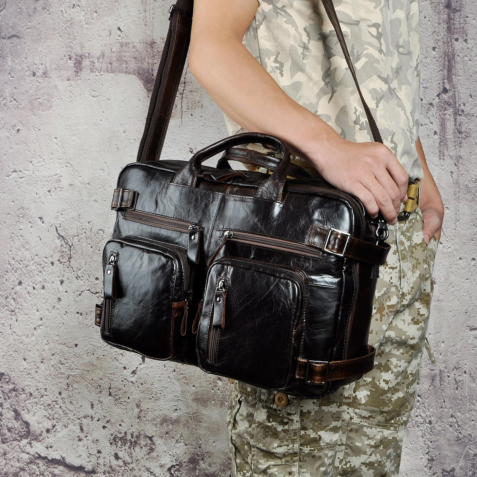 Véritable en cuir véritable mode mallette d'affaires Messenger sac mâle Design voyage ordinateur portable porte-documents fourre-tout portefeuille sac k1013c - 2