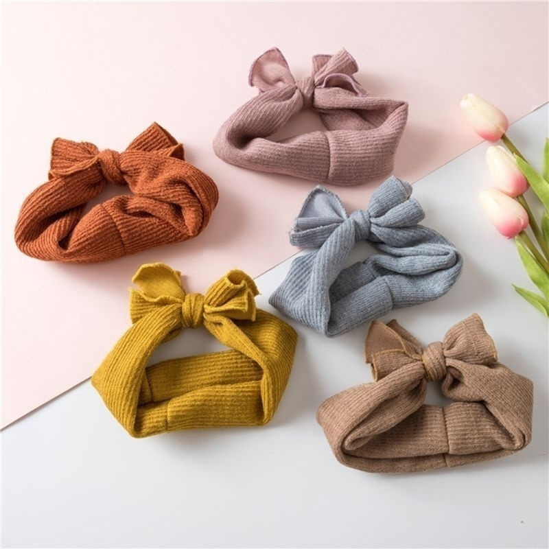 Cute Baby Girl Headbands Knitted Newborn Baby Bows Headband Turban Infant Head Bands Hairbands For Kids Girls Hair Accessories