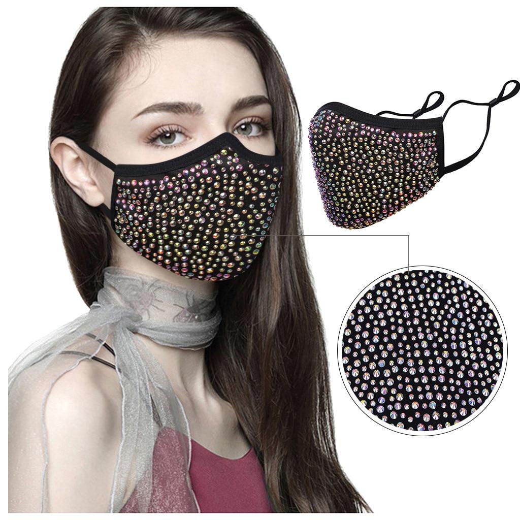 Женская Маскарадная маска с кристаллами, многоразовая Пылезащитная маска на Хэллоуин, стразы|Шапочки, фольга и обертки|   | АлиЭкспресс