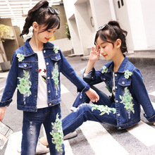 Girls Autumn Set 2019 Lapel Long Sleeve Single-breasted Embroidered Denim Jacket Old Hole Jeans Fashion