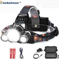 8000 Lumens 5 Led Headlamp XML T6 Powerful Head Lamp Led Headlight with 18650 battery Flashlight Head Lights for Hiking