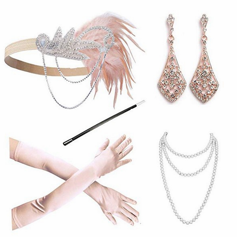 5Pcs/set 1920S Accessories Vintage The Great Gatsby Ladies Stage Perform Feather Headband Necklace Gloves Earrings Cosplay Set
