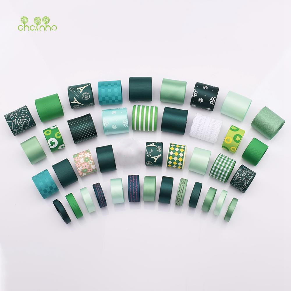 Single Face Printed Mixed Green Ribbon Grosgrain Set,41 PCS For DIY Handmade Gift Craft Packing,Hair Ornaments Accessorries