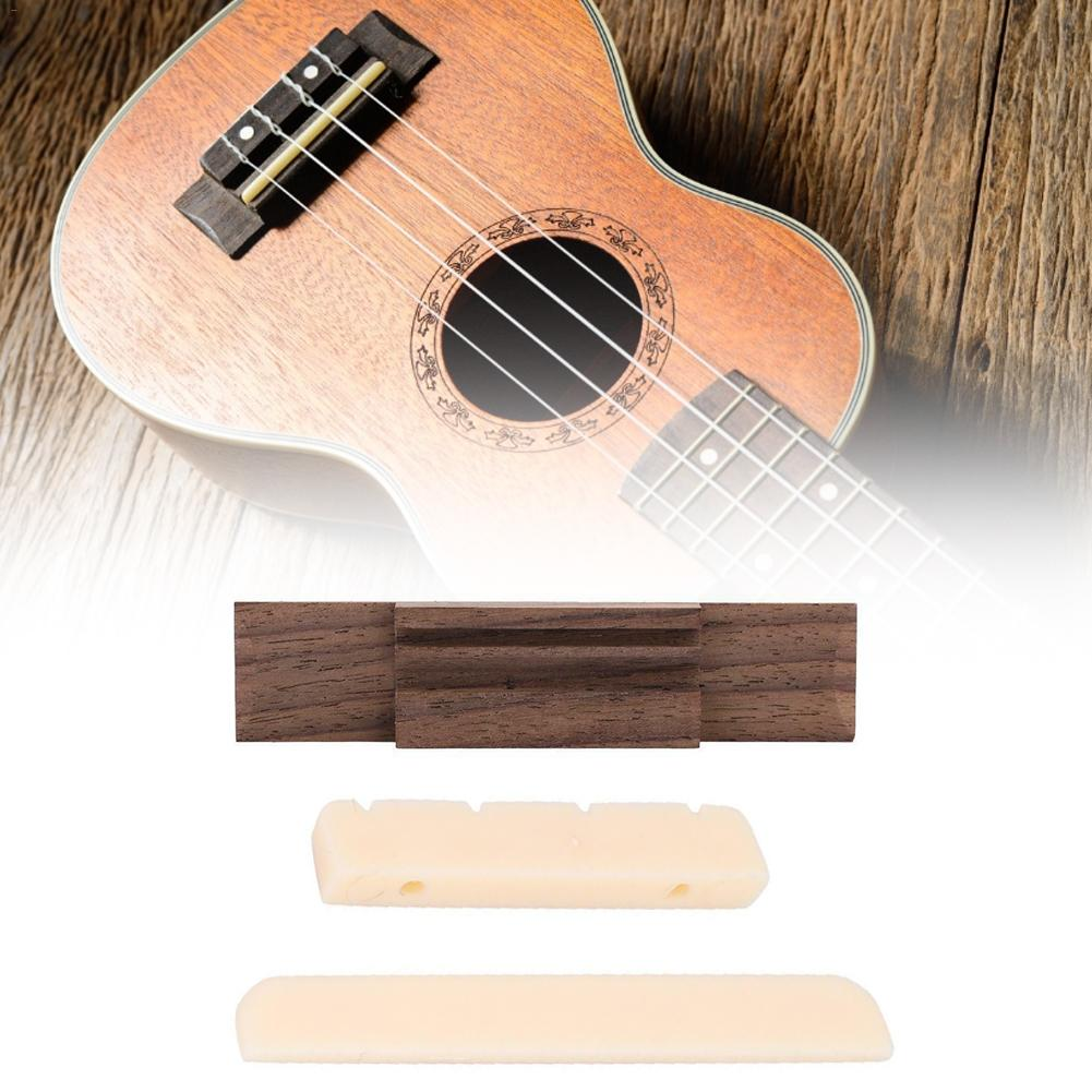 Ukulele Rosewood Bridge Set Bone & Saddle Nut Shell Dot For 4 String Guitar Parts Stringed Instruments Accessories