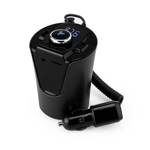 цена на Cup Shaped Dual USB Car-charger With LCD Car Bluetooth Handsfree FM Transmitter Modulator Auto A2DP MP3 Music Player