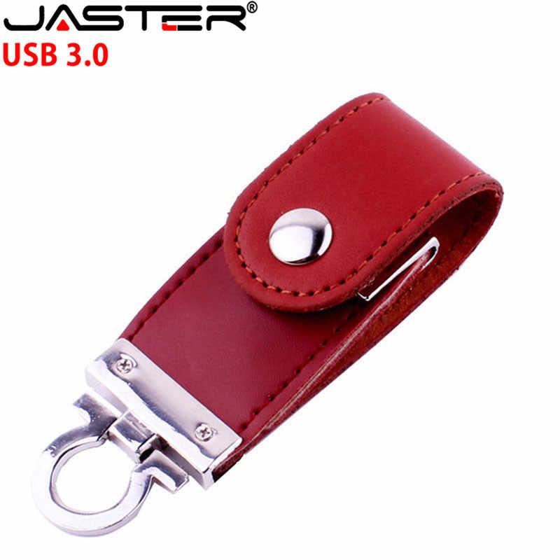 Jaster USB 3.0 Khách Hàng Logo Da Đèn LED Cổng USB Móc Khóa Pendrive 4GB 8GB 16GB 32GB 64GB Kinh Doanh Thẻ Nhớ Quà Tặng