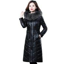 Plus Size 7XL Real Fox Fur Collar Winter White Duck Down Jacket Women Long Leather Coat Winter Hooded Women Jacket Winter Parkas стоимость
