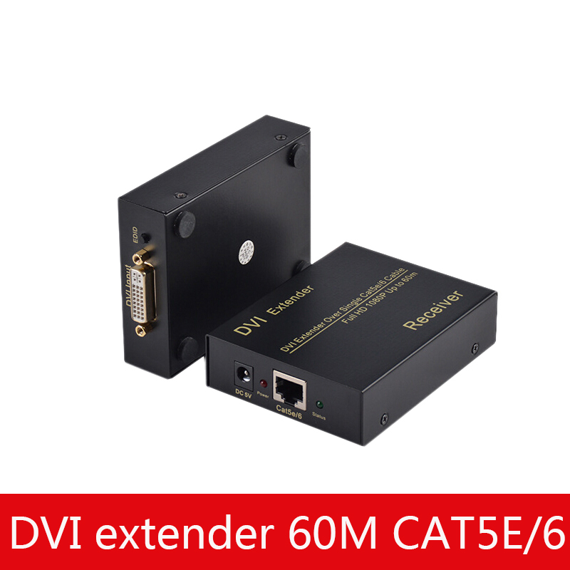 DVI Network Extender 60 Meters HD Video Signal Amplification Repeater 1080P HD Resolution
