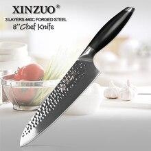 XINZUO 8 şef bıçağı üç kat kaplı çelik mutfak bıçakları G10 kolu süper keskin Cleaver barbekü bıçağı mutfak mücadele