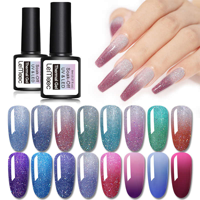 Lemooc Temperatuurverandering Gel Polish Thermische Magic Nail Vernissen Gel Soak Off Uv Led Glitter Pailletten Lakken Top Base Coat