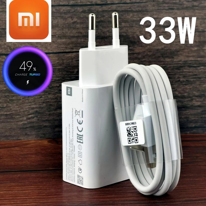 Быстрое зарядное устройство Xiaomi 33 Вт с турбозарядным устройством, оригинальный EU QC 4,0 адаптер 3A Usb Type C кабель для MI 10 9T 9 A3 Redmi Note 8 9 9s 10 Pro