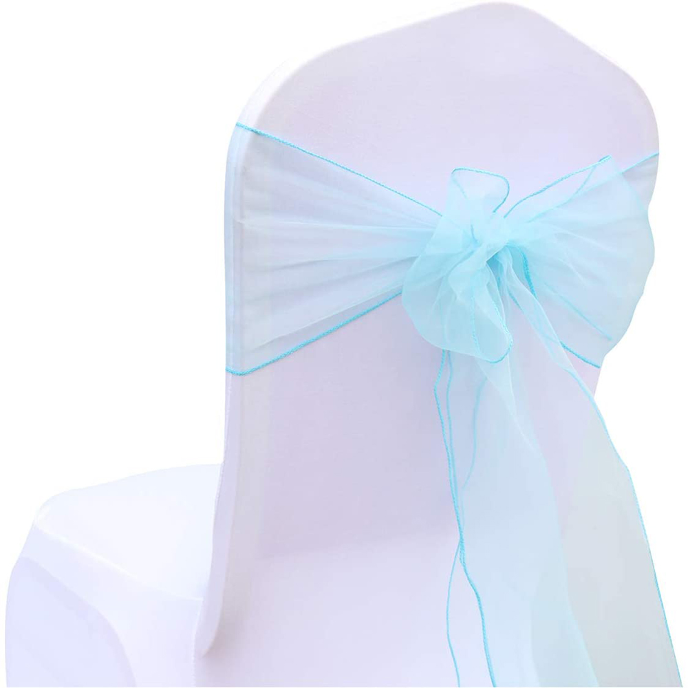 100pcs Wedding Decoration Organza Chair Sashes Chair Knot Chair Tie Organza Fabric for Wedding Party Decoration Hotel Supplies