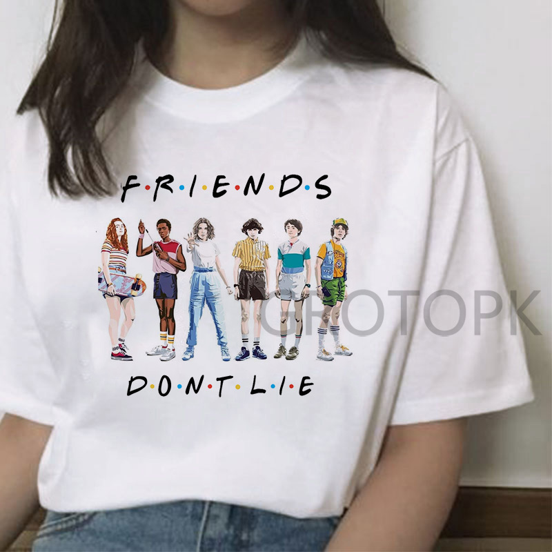 Funny   T     Shirt   for Women Stranger Things Female Tshirt Friend Don'  t   Lie Letter Print Tshirts Summer O-neck Hot Tv Series   T  -  Shirt