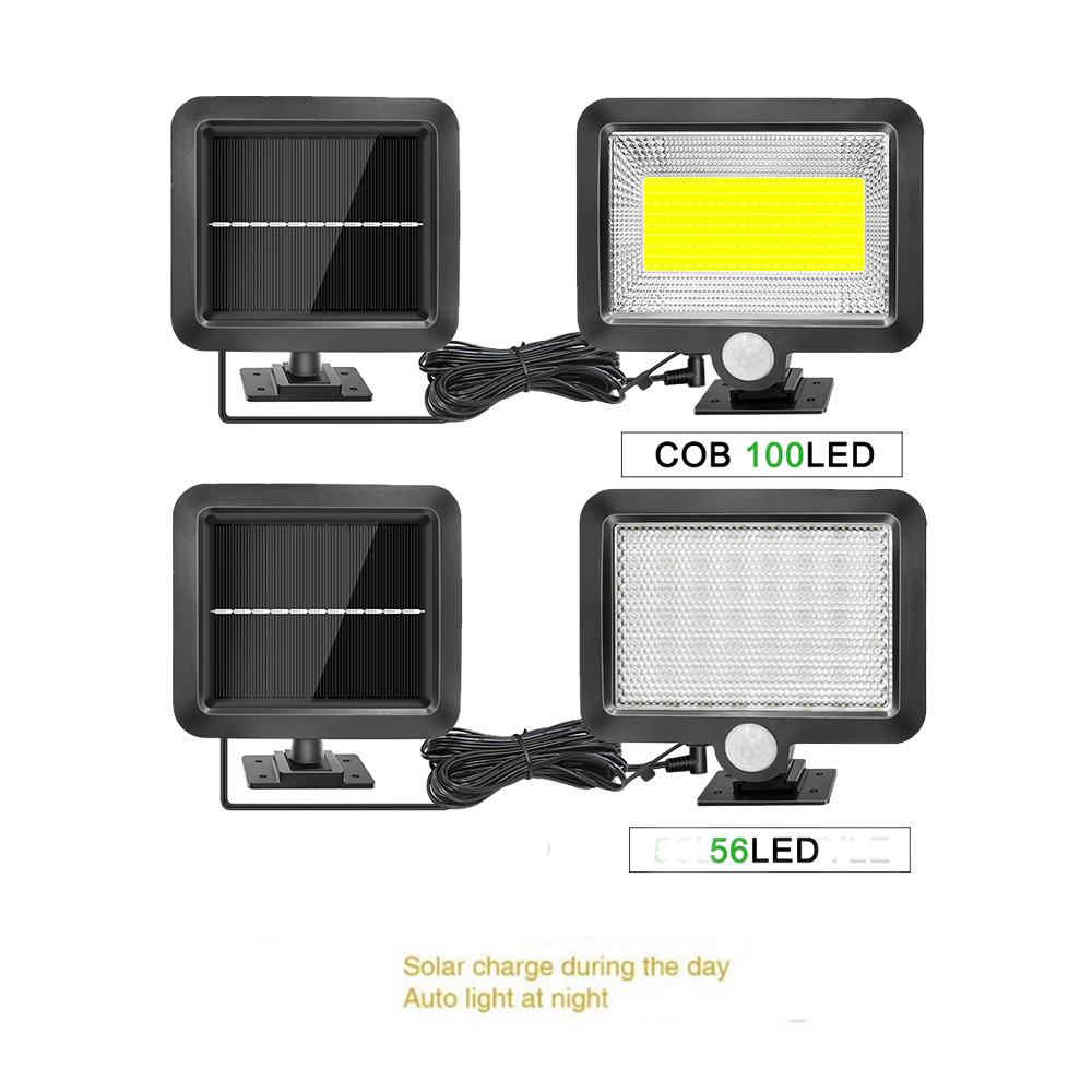 Outdoor 56/30 LED Solar Wall Lamp Fe Battyery Waterproof Cold/Warm White Remote Control ABS Garden Path Light Split Mount 5M Cab