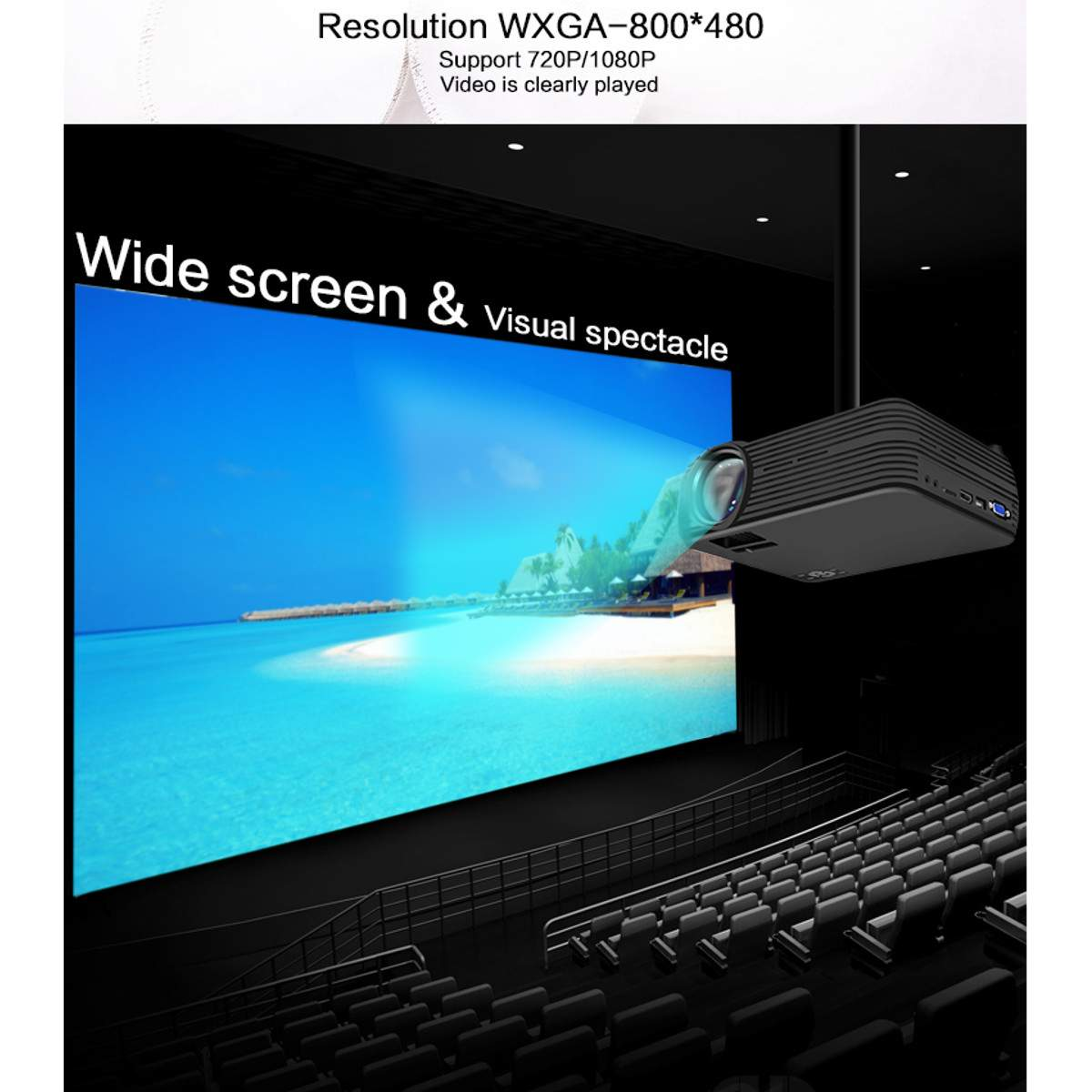 LCD Screen - TheaterMax™ X5 LCD Projector 7000 Lumens Support 1080P HD Multimedia Home Cinema Smart Home Theater
