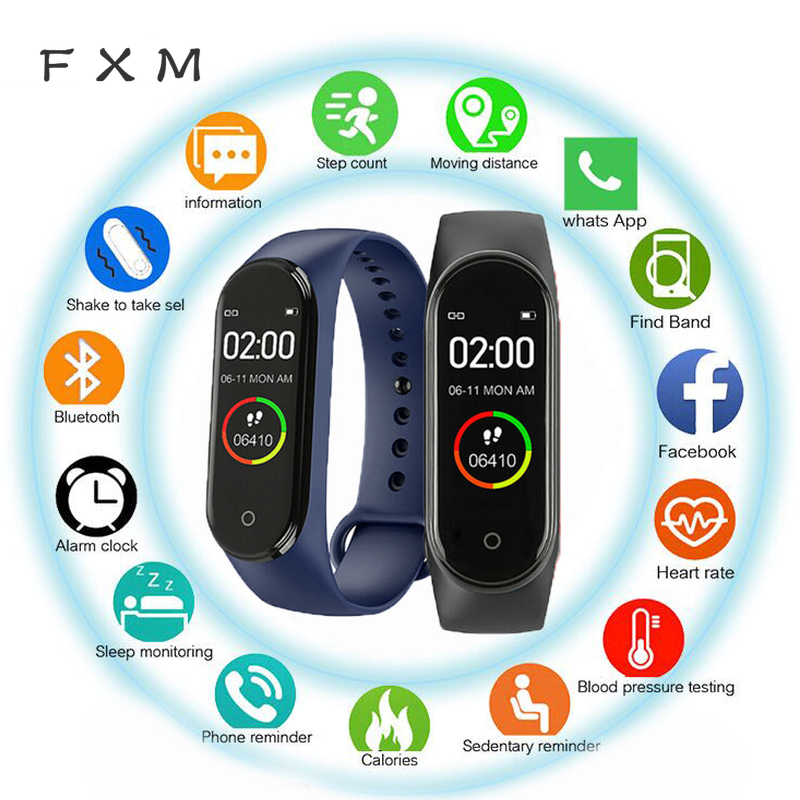 FXM M4 Men Women New Smart High Quality New Label Belt Sports Blood Pressure Heart Rate Monitor Watch Monitor Waterproof Fitness