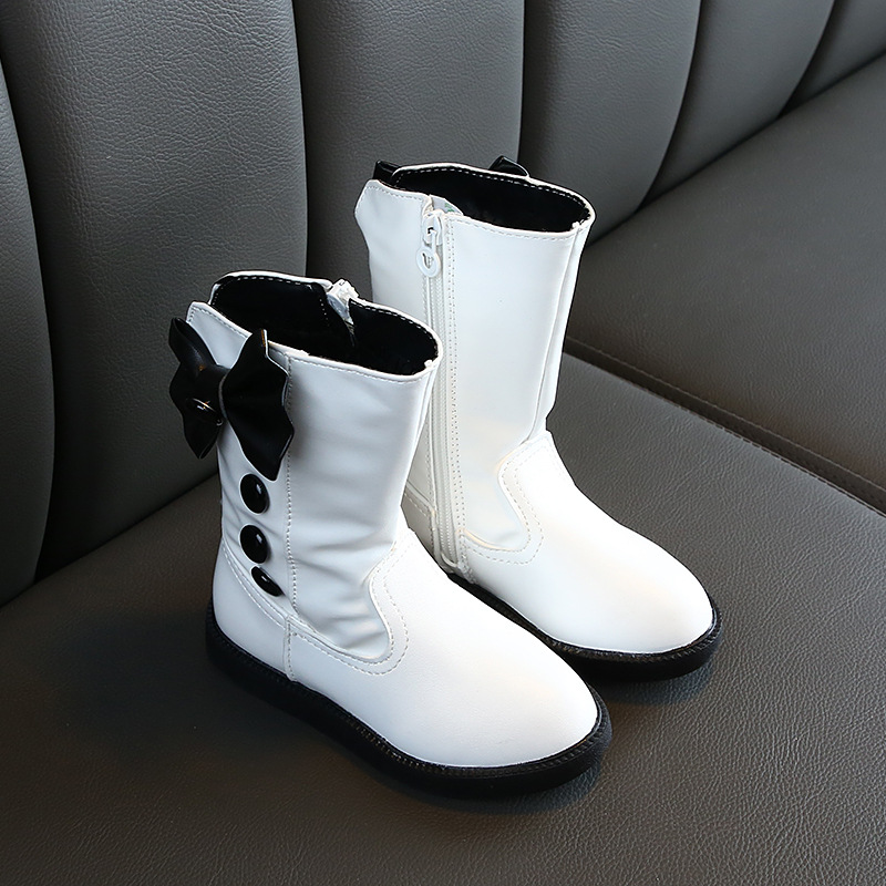 Children's Winter Boots For Girls Bowtie Mid-calf Fashion Boots Princess Winter Flats Dress Shoes Black Red White Snow Shoes