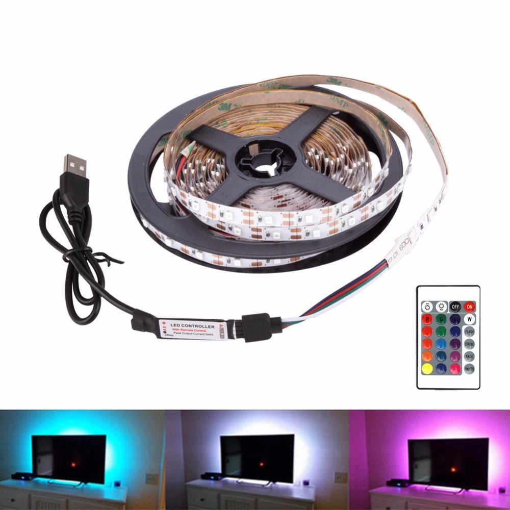 DC5V USB LED tira RGB 1M 2M 3M 4m 5m remoto controlador 3 llave usb Flexible luz de fondo tipo TV LED RGB cinta ip20 ip65 caliente