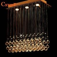 Moderna led retangular k9 lustres de cristal iluminação para sala jantar quarto sala estar lâmpada do teto