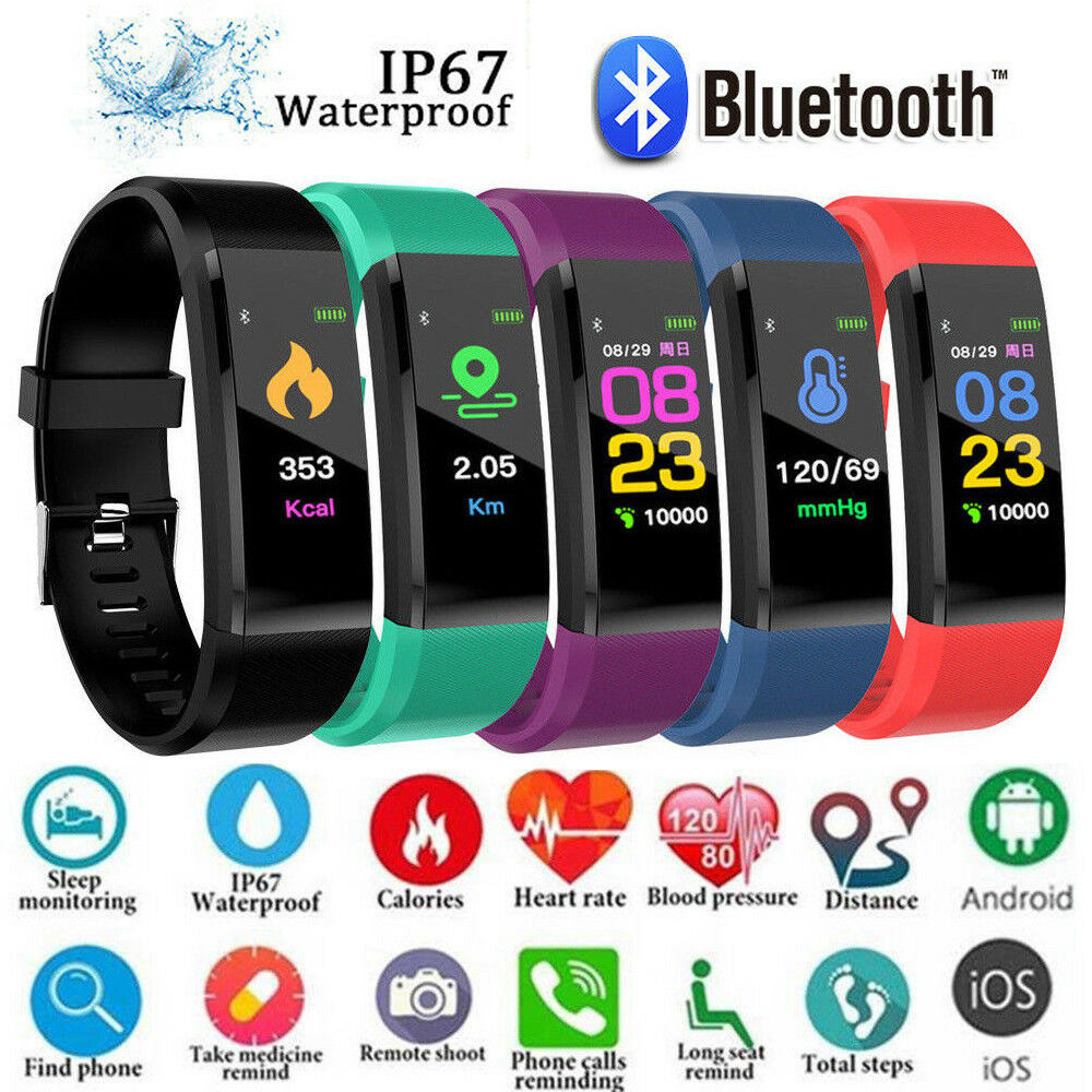 Smart Bracelet Sport Bluetooth Wristband Heart Rate Monitor Watch ID115 PLUS Fitness Tracker Smart Band Android Ios