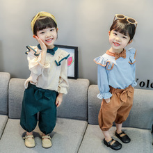 BINIDUCKLING 2020 Autumn New Toddler Girls Clothes Set Long Sleeve Top+Pants Knotbow Button Cotton Clothing Suit For Baby Girls jxysy toddler kid baby girls clothing set ruffles floral top pleated pants spring autumn girls clothes children costumes