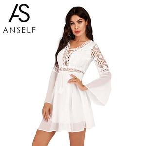 Anself Sexy Women Dress Mini V Neck Hollow Out Chiffon Dress Criss Cross Semisheer Plunge Long Sleeve Crochet White Lace Dresses(China)