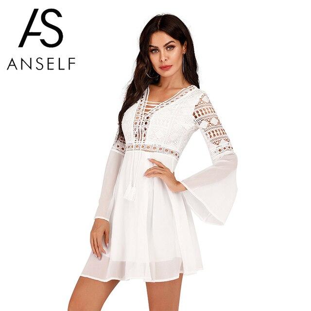 Anself Sexy Womens Dress V Neck Hollow Out Long Sleeve Mini Chiffon Dress Elegant White Boho Woman Dresses Casual Lace Vestido