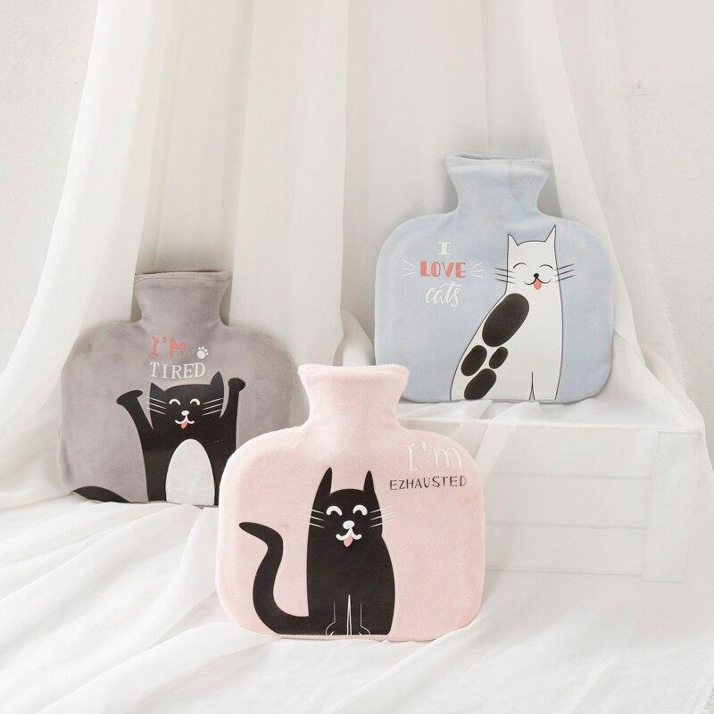 1000ml yaratıcı büyük flanel kauçuk sıcak çanta sıcak su şişesi kış su dolu sıcak su torbası özel kedi ^ o ^