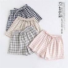 Пара пижамы лето хлопок марля шорты японский стиль простой резинка талия повседневный большой размер решетка мужские и женские домашние брюки