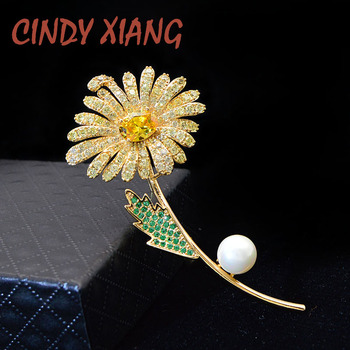 CINDY XIANG Colorful Cubic Zirconia Daisy Brooches For Women Sunflower Brooch Pin Copper Jewelry Zircon Corsage High Quality cindy xiang colorful cubic zirconia daisy brooches for women sunflower brooch pin copper jewelry zircon corsage high quality