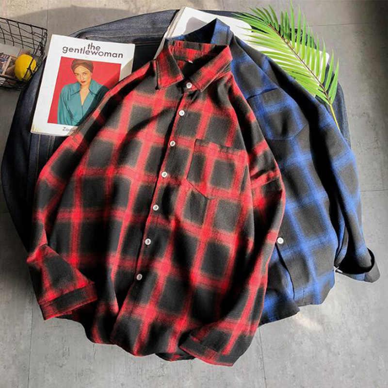 MODA VELOCE 빨간색과 검은 색 격자 무늬 셔츠 남성 여름 셔츠 남성 2020 남성 셔츠 슬림 피트