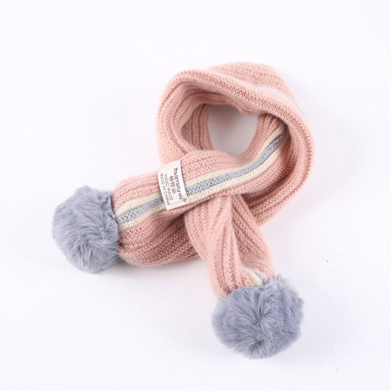 Baby Kids Pom Pom Knitted Scarf Boys Girl Winter Warm Scarves Neckerchief UK