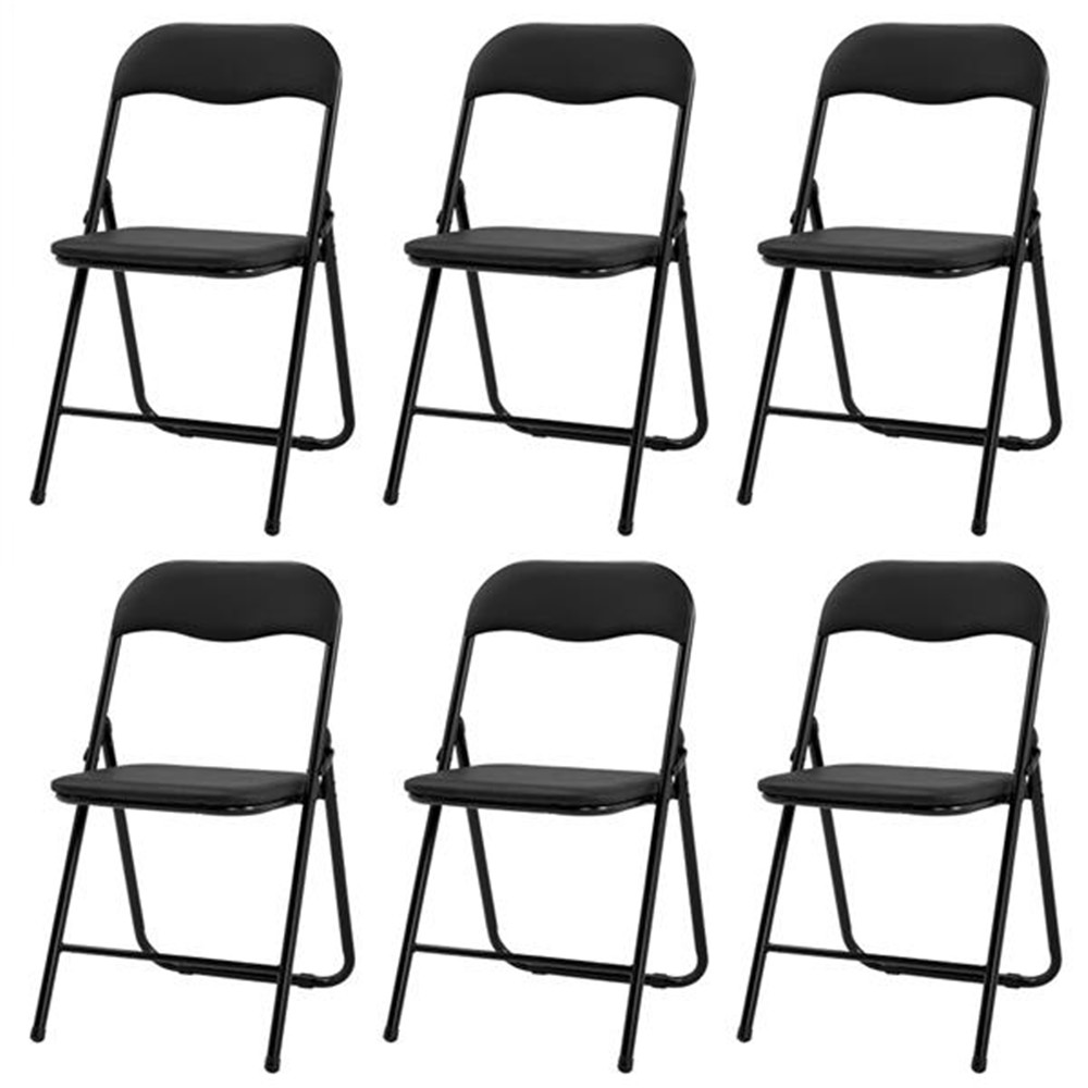 3023 4 /6 Foldable Leather Square Back Camel Chair Black Dining Chairs Convenient Chairs Office Chairs
