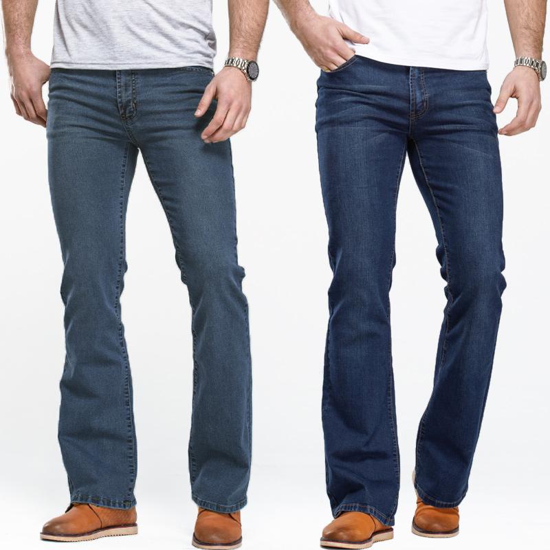 Mens Boot Cut Jeans Slightly Flared Slim Fit Famous Brand Blue Black Jeans Designer Classic Male Stretch Denim Fabric