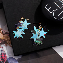 South Korea new laser star sequin earrings sweet super fairy temperament hip hop cool girl disco