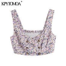 KPYTOMOA-Blusa recortada con estampado Floral para mujer, Blusa con tirantes elásticos, estilo elegante, con botones, mochila clásica, 2021