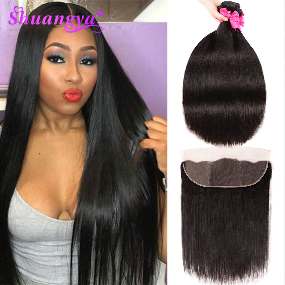 Shuangya Hair Brazilian Straight Hair Bundles With Frontal Remy Hair Frontal With Bundles Human Hair 3 Bundles With Frontal