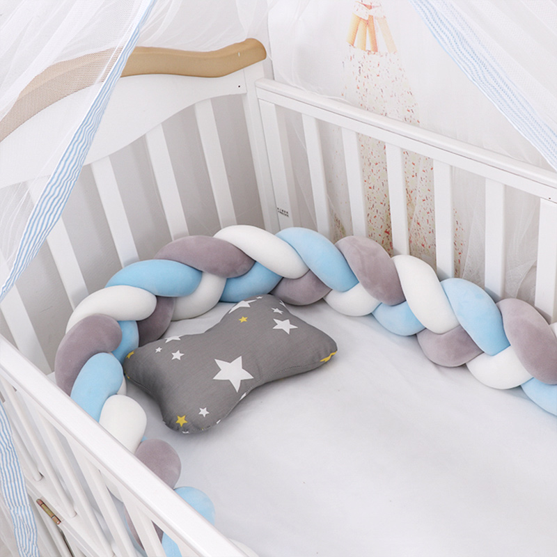 Fashionable 10-18 Plush Knot Baby Crib Bumper 1.5M/2M/3M Newborn Baby Bedding Set Children's Bed Nest Cot Protector Baby Stuff