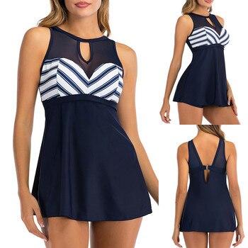Fashion Women Plus Size Bathing Suit Print Tankini Swimjupmsuit Two Piece Swimsuit Beachwear Push Up Padded Bikini Set Swimwear plus size backless tiered tankini set
