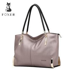 FOXER Брендовые женские сумки из коровьей кожи, женская сумка на плечо, дизайнерская Роскошная Дамская Большая вместительная сумка на молнии ...
