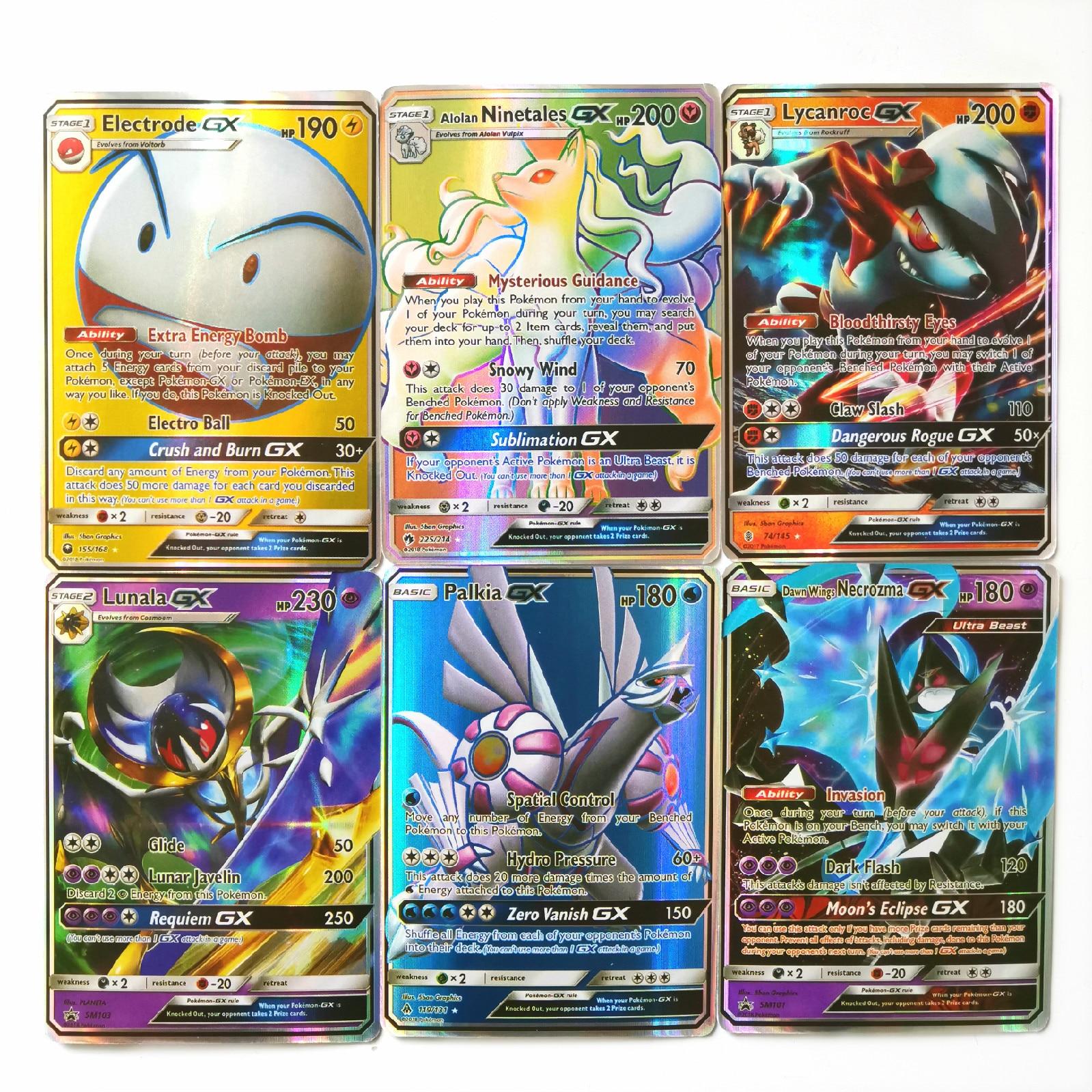 200Pcs Pokemon GX Shining TAKARA TOMY Cards Game Battle Carte Trading Toys For Children