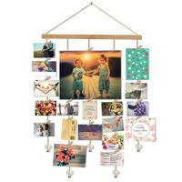 Wooden Photo Display Stand Multiple Collage Photo Frame Hanger With Crystal Pendant Chain And Clip Home Decoration Photo Frame