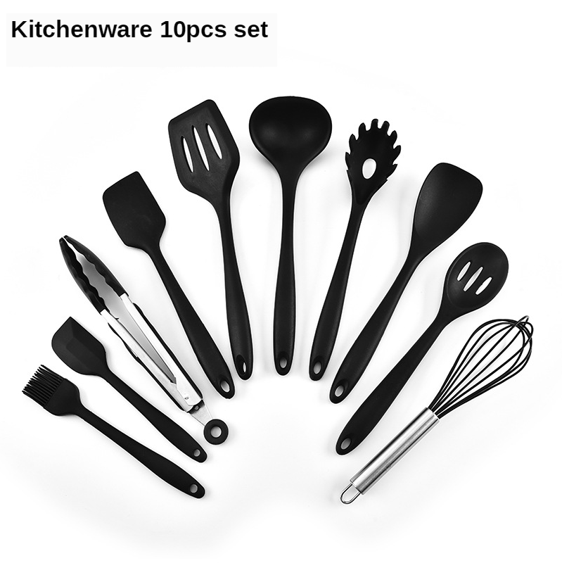 10pcs set cooking tool kitchen utensils Silicone Soup Spoon Spatula Brush Scraper Pasta Server Egg Beater utensilio de cozinha