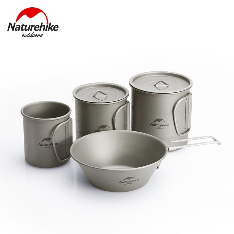 Naturehike Camping Supplies Titanium Cup Bowel Titanium Tableware Outdoor Coffee Cup Mug Picnic Set Folding Camping Cookware