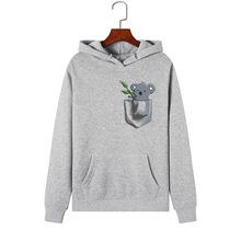 Bluzy damskie 2019 marka kobiet z długim rękawem Cute Animal Koala Print bluza z kapturem dres Pullover odzież sportowa S-2XL tanie tanio Poliester REGULAR Pełna COTTON 250-300g Swetry WOMEN Cartoon Na co dzień