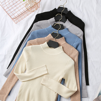 BEFORW 2019 New High Quality Fall Turtleneck Sweaters Women Solid Color Long Sleeve Sweaters Winter Knitted Casual Pullovers Top