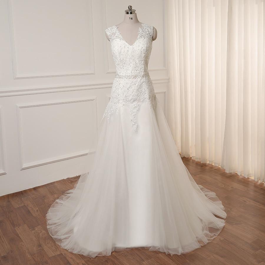 ADLN Vestido De Noiva Wedding Dresses Cap Sleeve Beading Applique Tulle Bridal Wedding Gowns Robe De Mariee Back Zipper Button